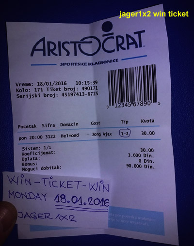 WIN TICKET FROM YESTERDAY / MONDAY 18.01.2016