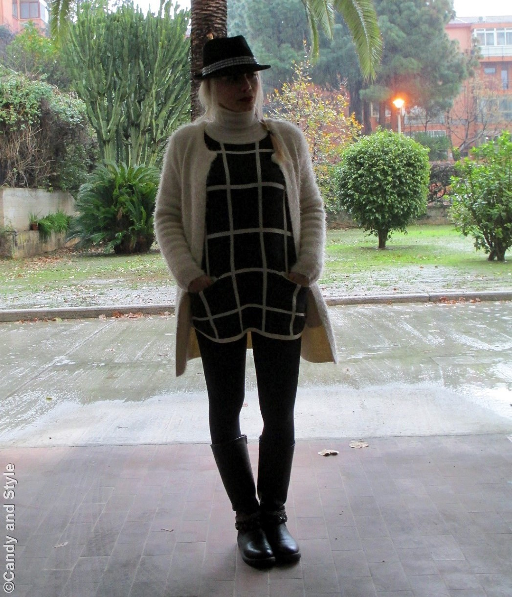 FuzzyJacket+PlaidSweater+Leggings+Bikers+TrilbyHats+Braid - Lilli Candy and Style Fashion Blog