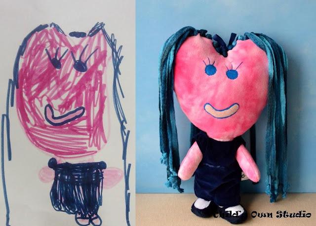 Brinquedos de pelúcia feitos com inspiração nos desenhos das crianças