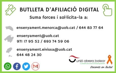 Afilia't! Butlleta d'afiliació digital o paper: