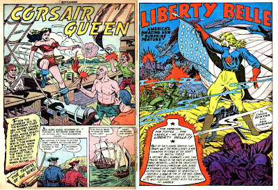 Corsair Queen splash, Buccaneers 25; Liberty Belle splash, Boy Commandos 1