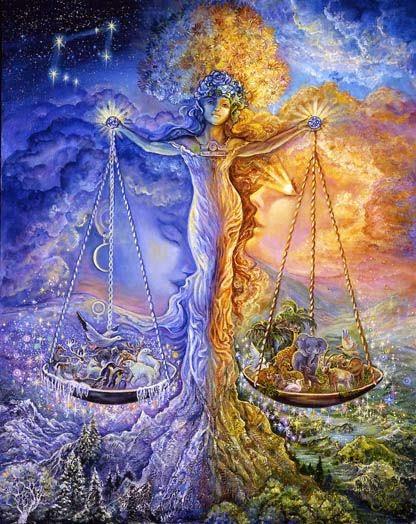 Ilustracion el equilibrio de la naturaleza, signo libra