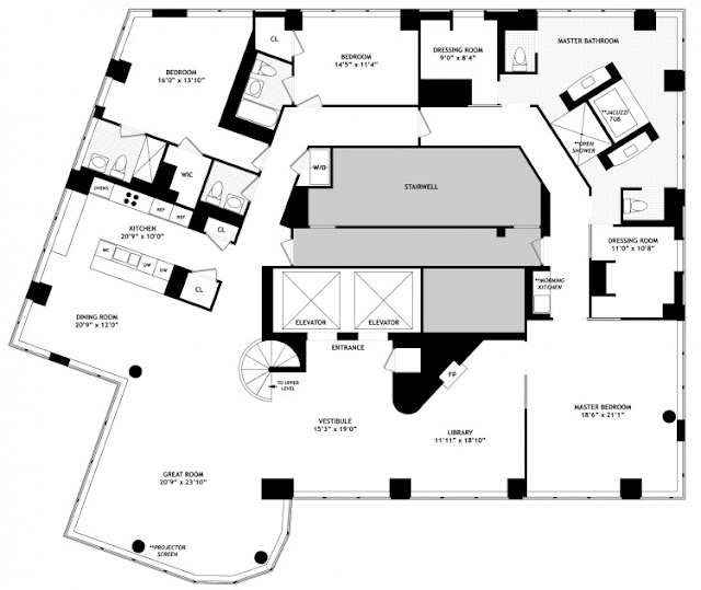 Floor plan of lower floor in one of the most beautiful penthouses