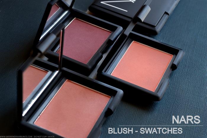 NARS Cosmetics Makeup Blush Swatches on Darker Indian Skin
