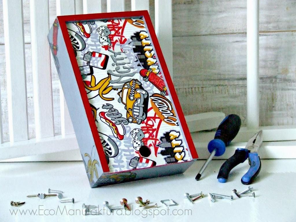 pudełko/piórnik decoupage dla chłopca z męskim motywem by Eco Manufaktura