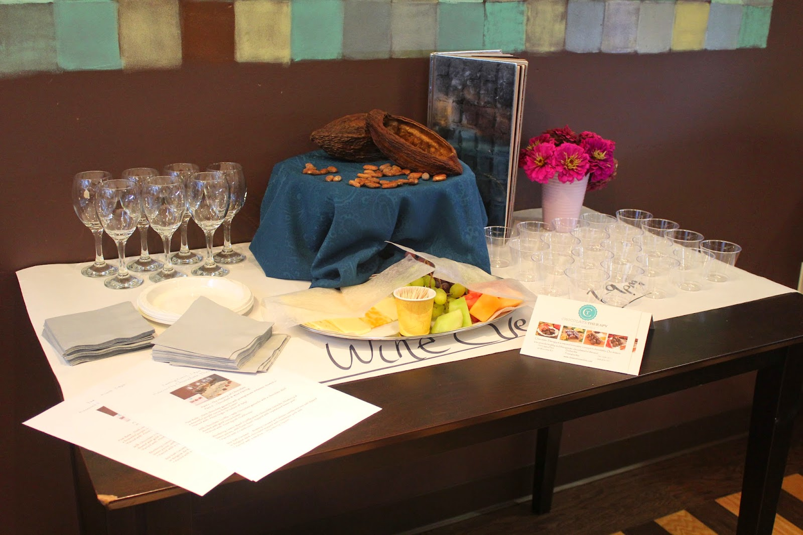 Chocolate and wine pairing at Chocolate Therapy, Dedham, Mass.