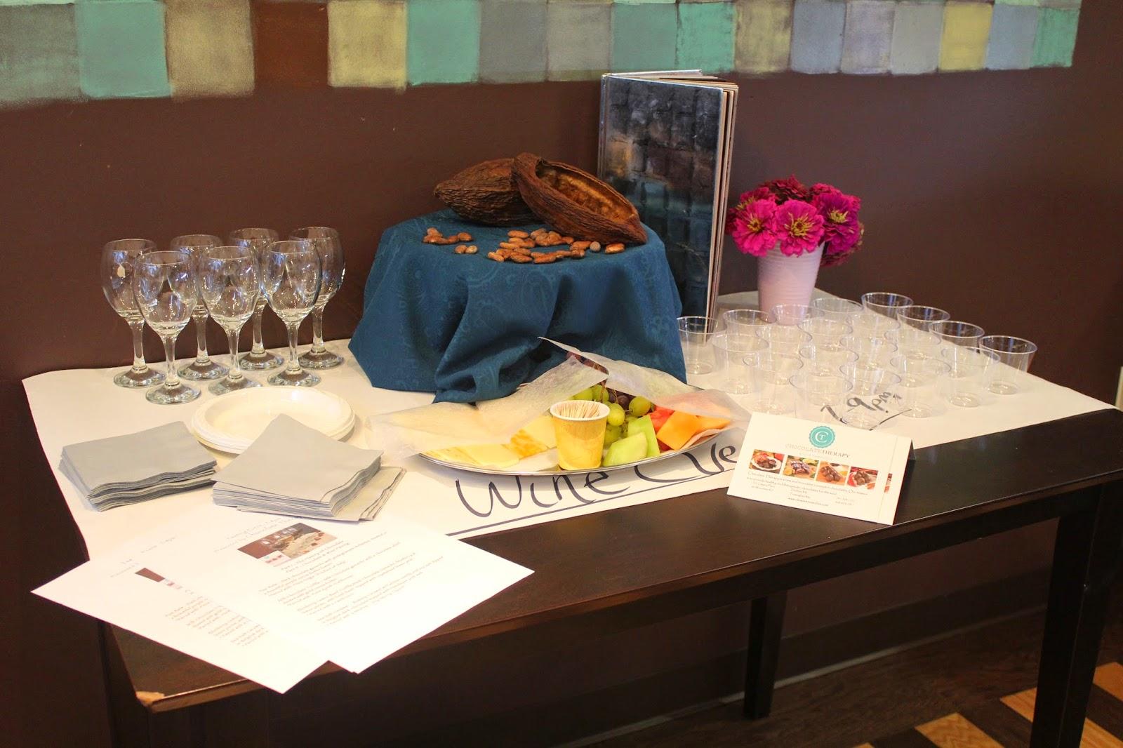 Chocolate and wine pairing at Chocolate Therapy, Dedham, Mass.