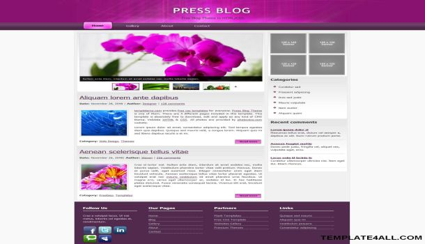 Free Purple White CSS Website Template