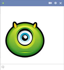One eyed alien monster emoticon for Facebook