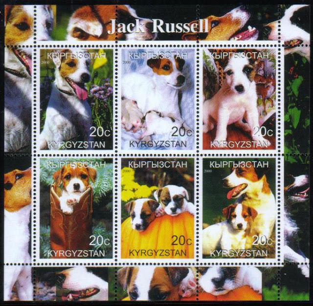 2000年キルギスタン共和国 ジャック・ラッセル・テリアの切手シートその2