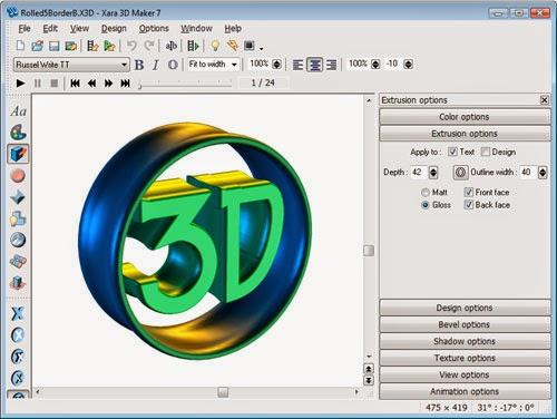 برنامج مميز لكتابة الكلمات والجمل ثلاثية الابعاد 3D وجعلها متحركة Xara 3D Maker 7 GIF