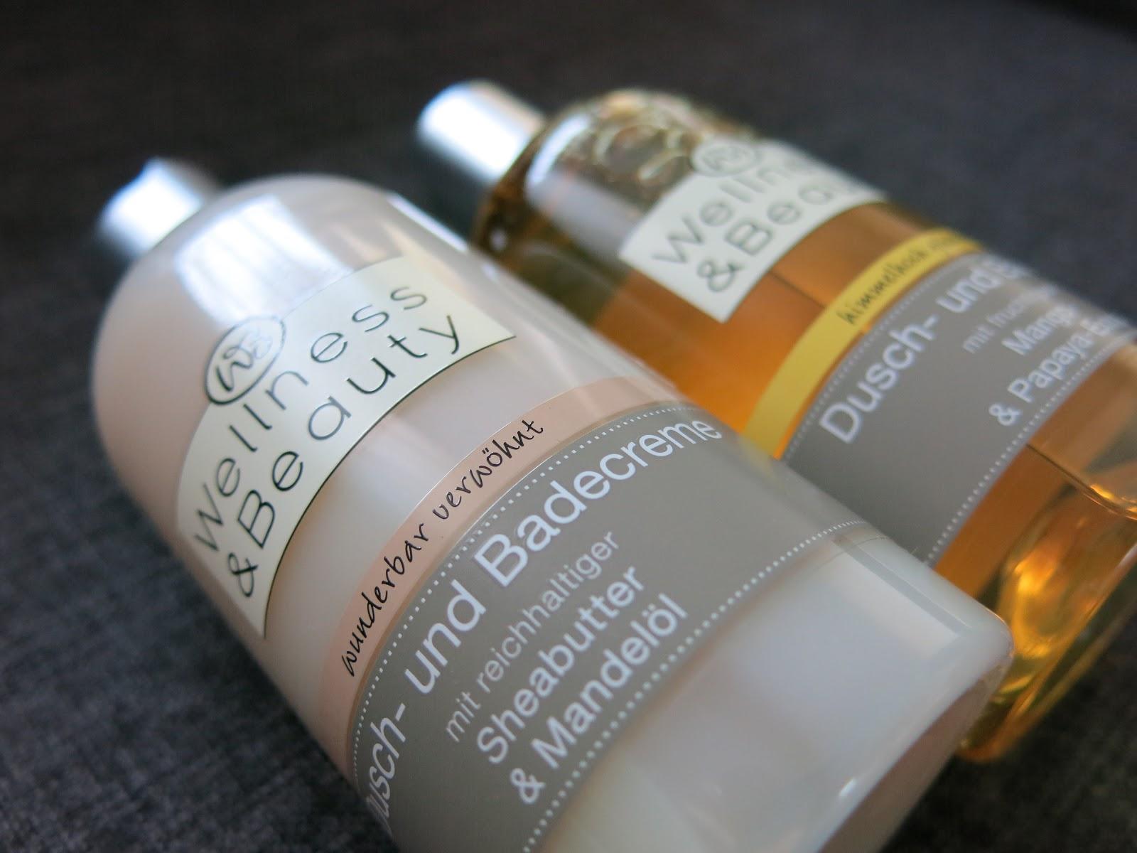 Wellness & Beauty, żele pod prysznic: Masło shea i olej migdałowy oraz Mango i papaja.