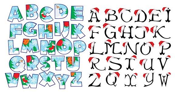 alfabeto navidad en vector