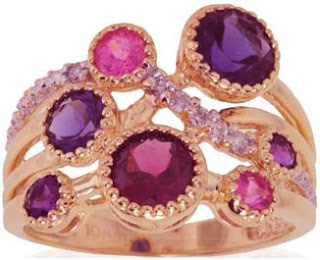 10k Rose Gold Rhodolite, Amethyst, Iolite and Diamond Ring