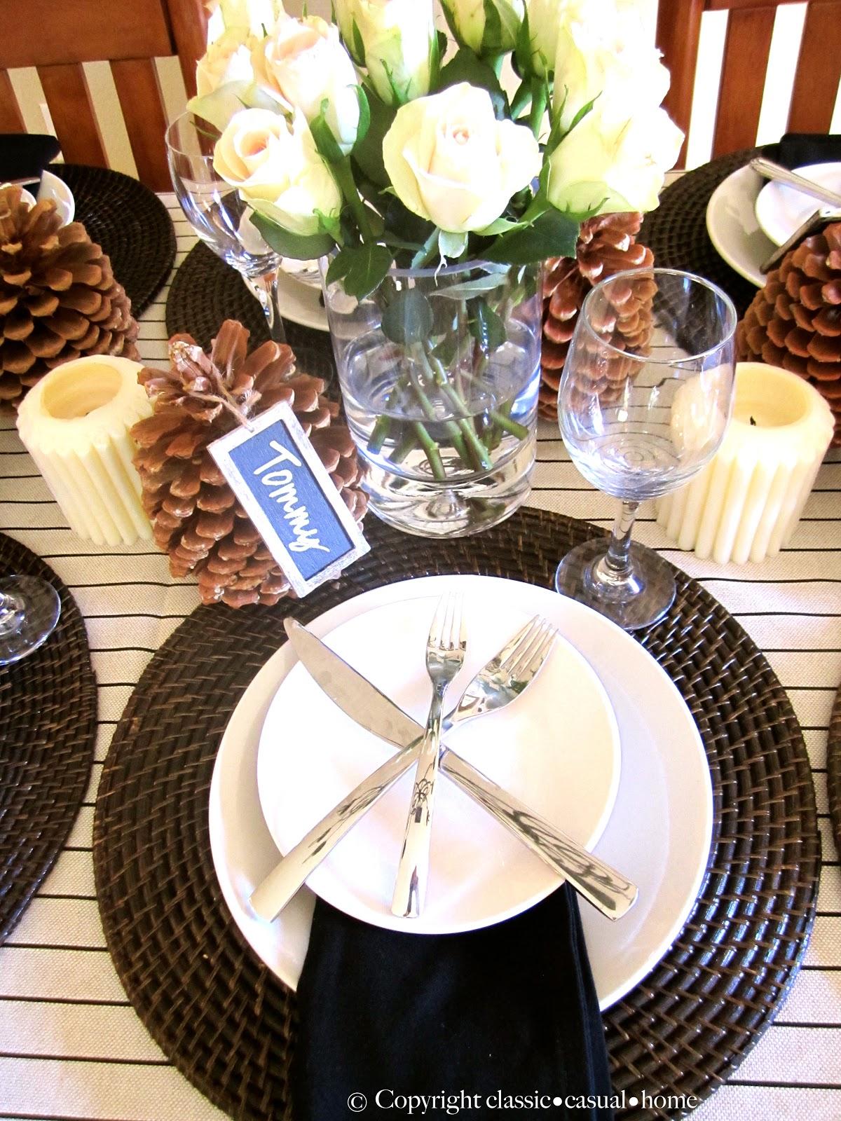rustic table setting and roasted lemon cauliflower. Black Bedroom Furniture Sets. Home Design Ideas
