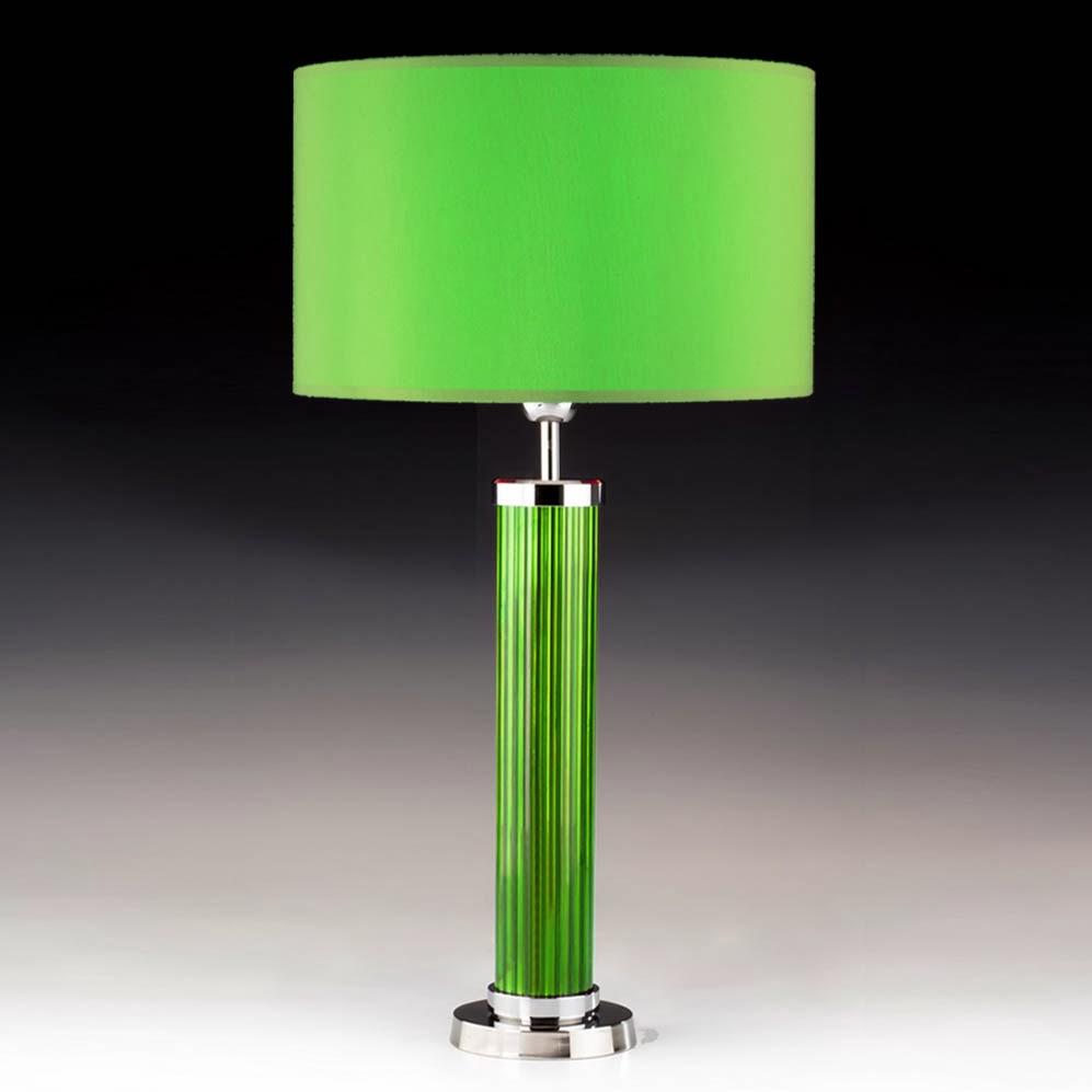 tischleuchten aus glas und kristall gr ne tischleuchte aus glas und chrom tube. Black Bedroom Furniture Sets. Home Design Ideas