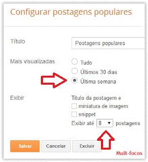 Configurar postagens populares