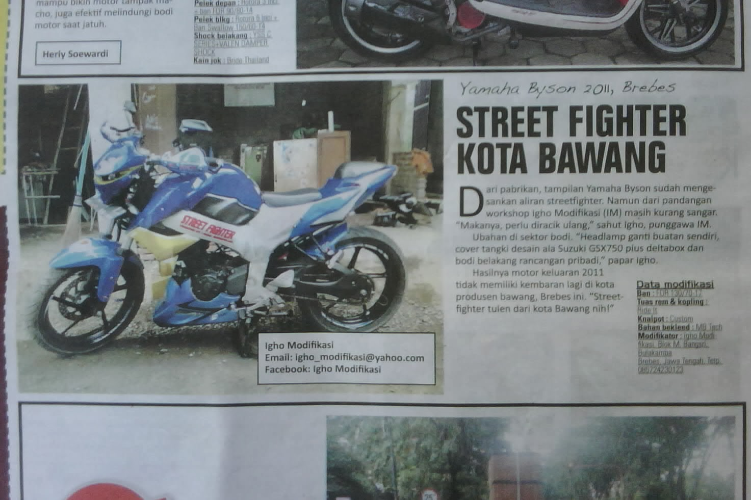 igho modifikasi, headlamp streetfighter, helm predator, bodykit byson gsr 750, bodykit new vixion lightning