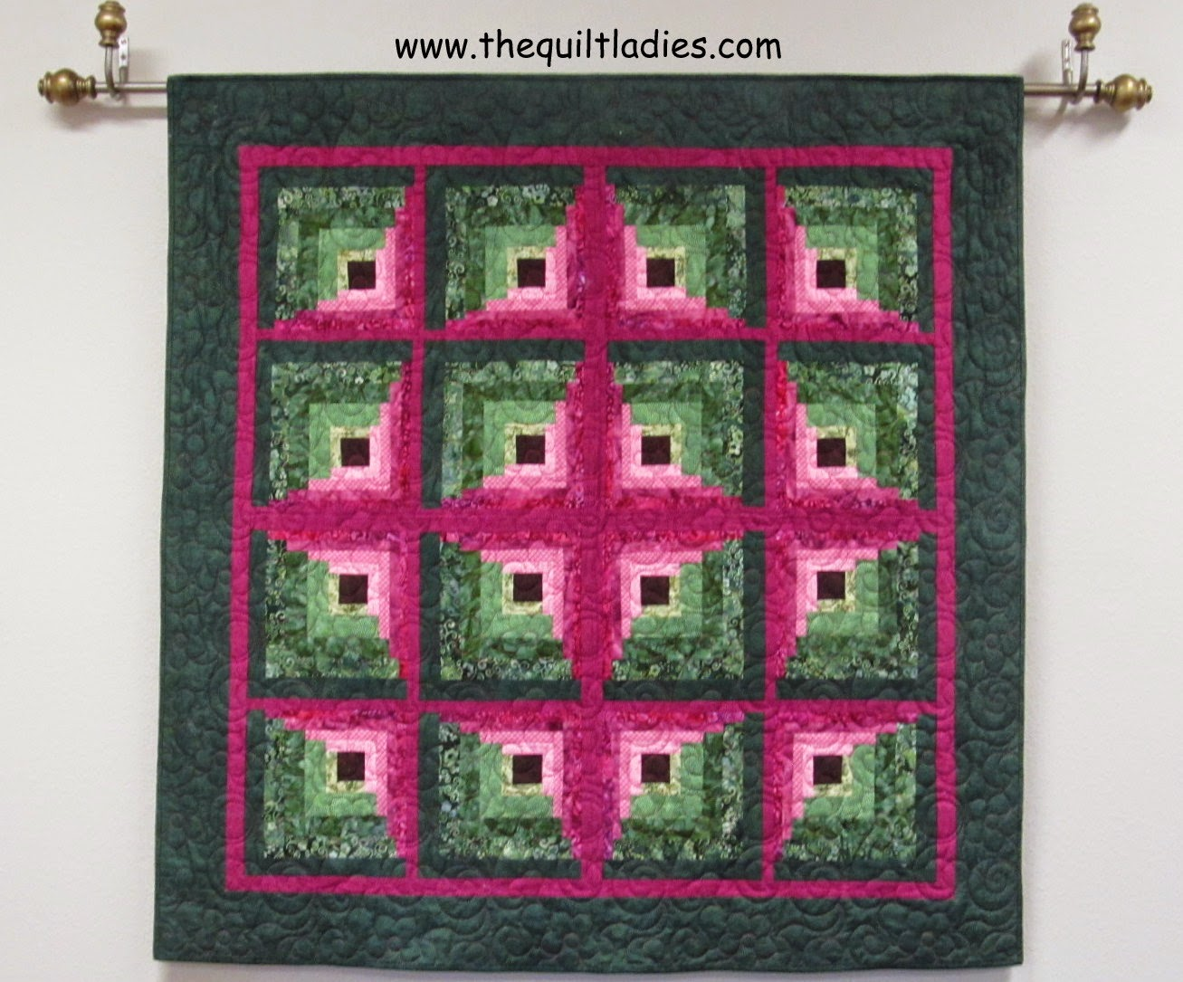 hot pink fabric in log cabin quilt