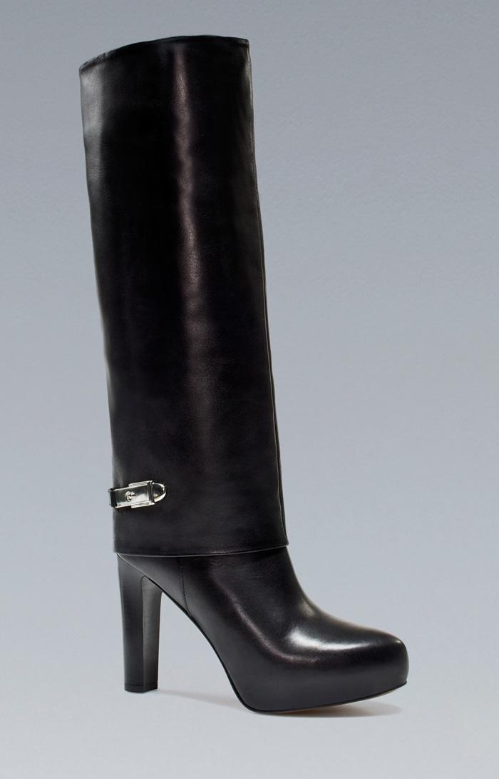 botas negras tacon zara