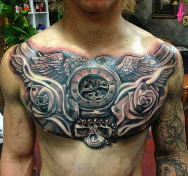 Realistic 3D watch and wings tattoo on chest