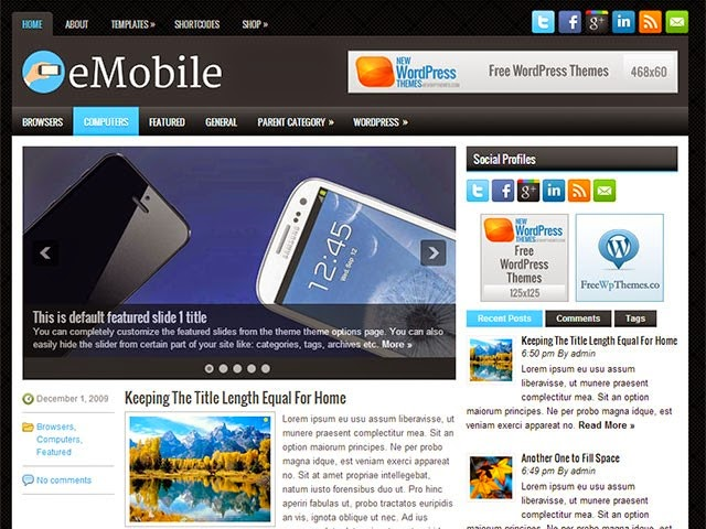 eMobile - Free Wordpress Theme