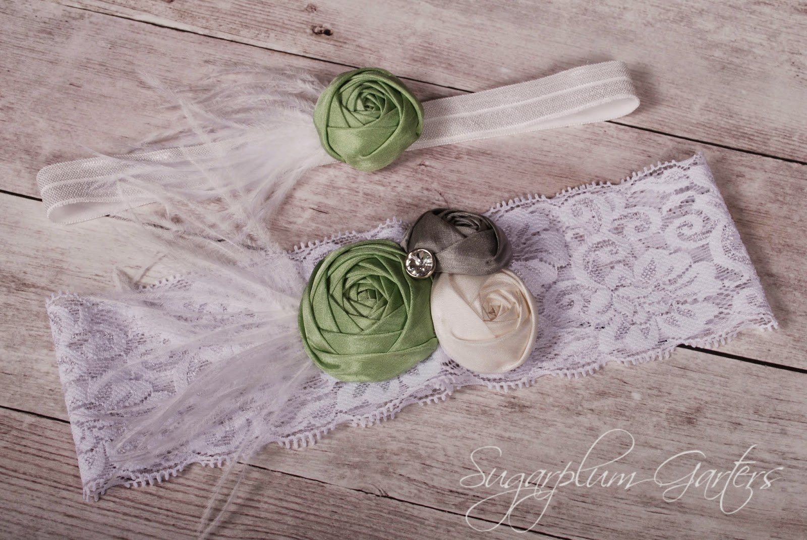 Custom Silk & Lace Wedding Garter Set by Sugarplum Garters