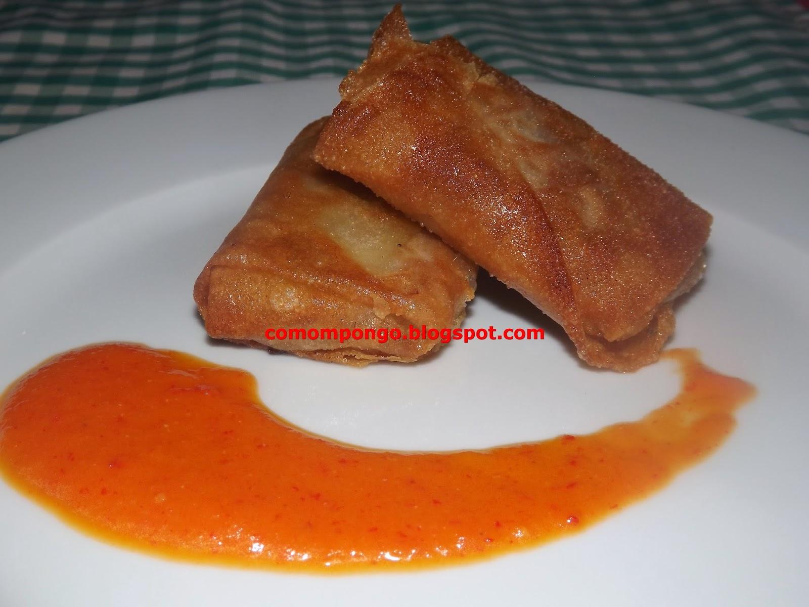 Rollitos de manitas de cordero con salsa vizcaina