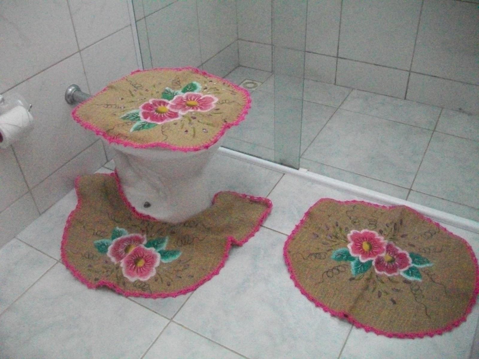 Adesivo De Reposição Hormonal ~ Benilna Artesanato Conjunto de Banheiro em Juta pintadoà m u00e3o