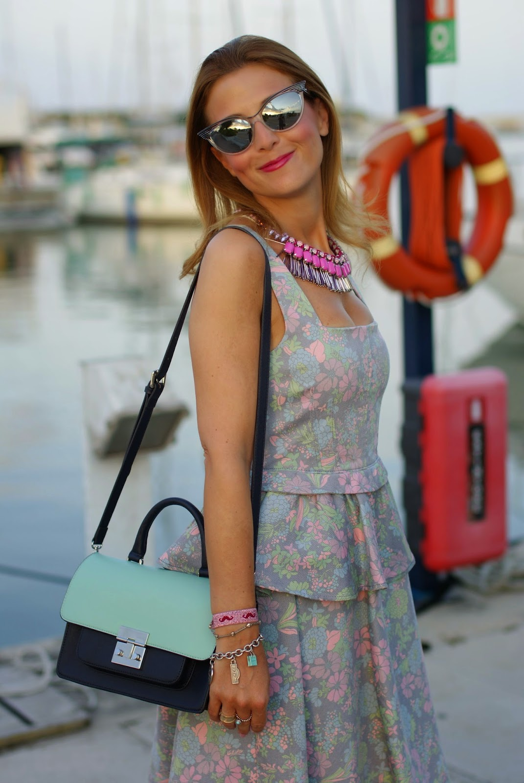 cat eye mirrored sunglasses, sodini bijoux, marc by marc jacobs floral corset dress, Fashion and Cookies, fashion blogger