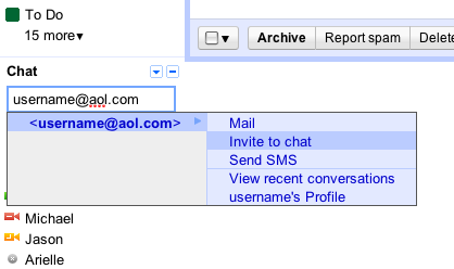 Gmail chat / google talk screenshot