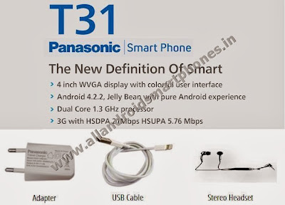 Panasonic T31 Dual Sim 3G Android Smartphone Featues Accesories Adapter USB Cable Stereo Headset Images Photos Review