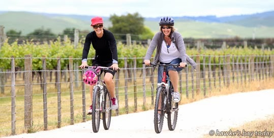 L-R: Lisa Cameron and Sandy Hallett, both from Taupo, heading off to Unison Vineyard, SH50, Hastings - The Wineries Ride, started at Sileni Estate Winery, peddled around Bridge Pa and Gimblett Gravels - a F.A.W.C! (Food and Wine Classic) event photograph