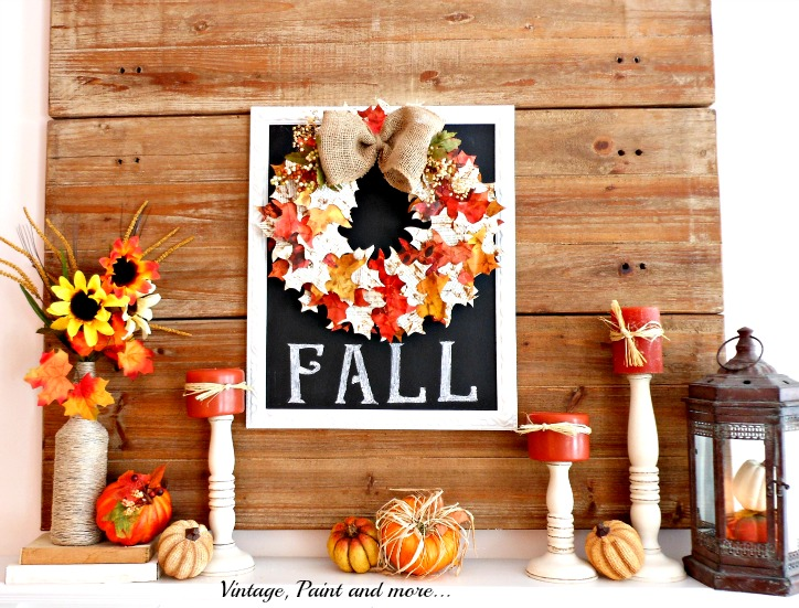 Vintage, Paint and more... Fall Mantel with rustic decor and paper leaf wreath