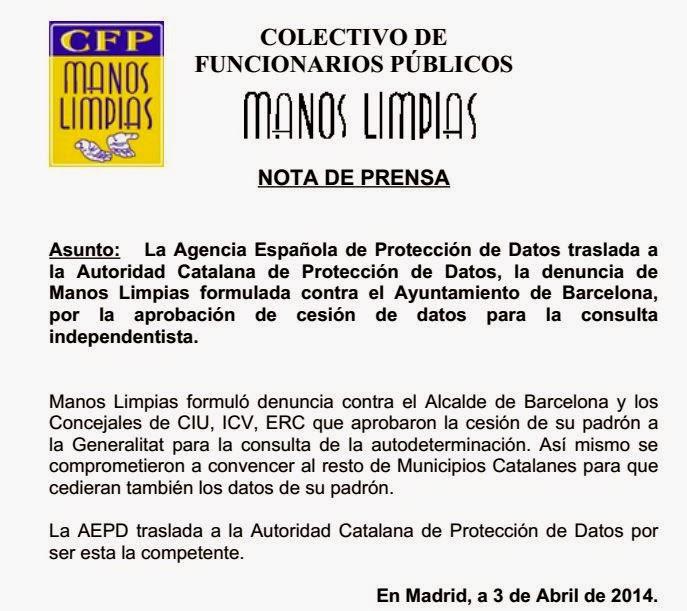 Manos limpias nota de prensa manos limpias formul for Oficina padron barcelona