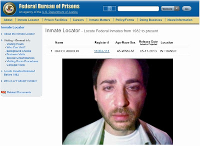 Screenshot of the Federal inmate locator of Rafic Labboun as of April 7, 2013, with the Mexican mugshot of Labboun imposed on it.