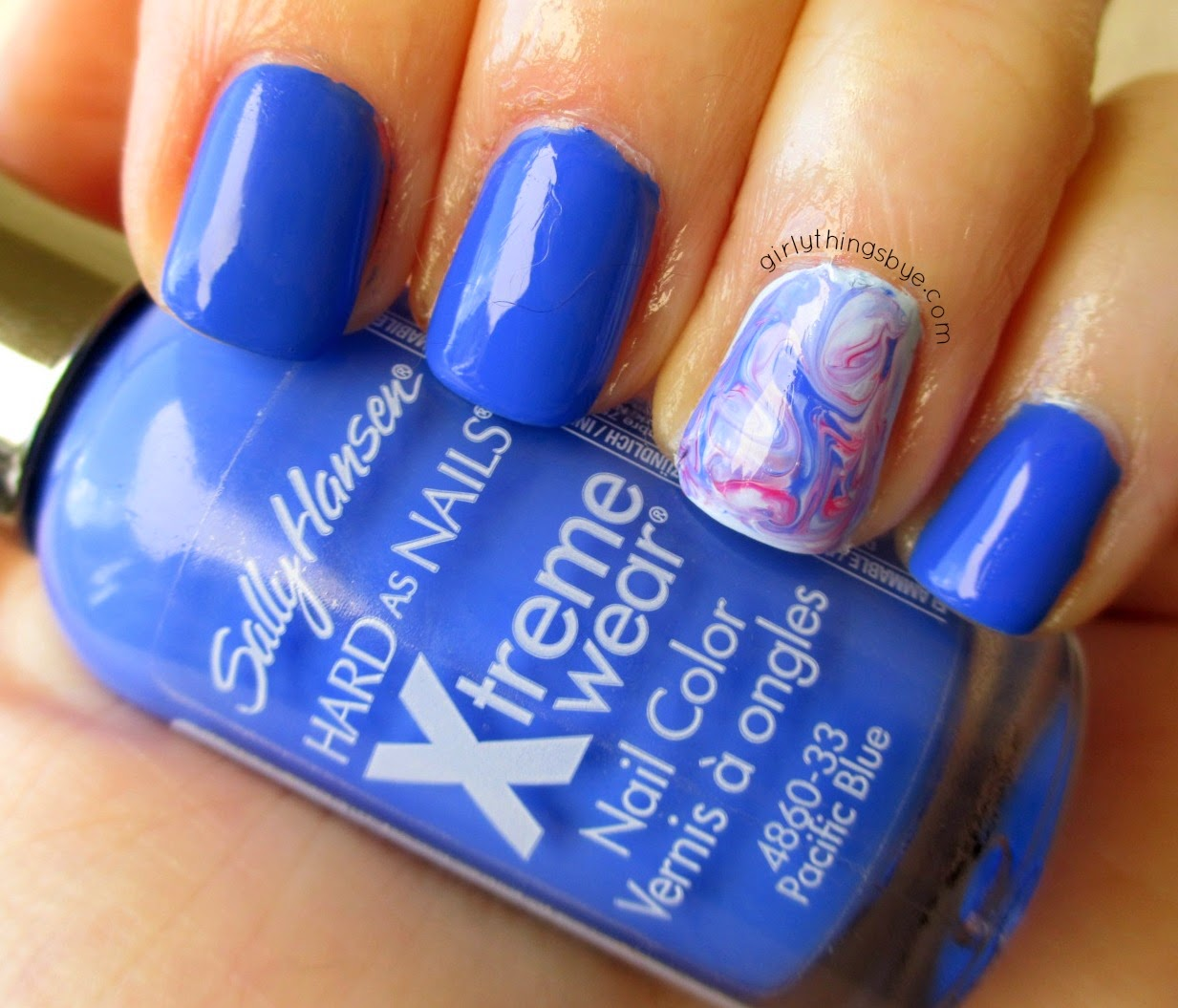 Sally Hansen Pacific Blue, marble nails, swatch, nail polish, @girlythingsby_e