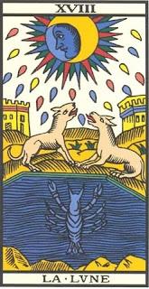 Arcano 18: A Lua, carta do tarô, tarot, baralho de marselha