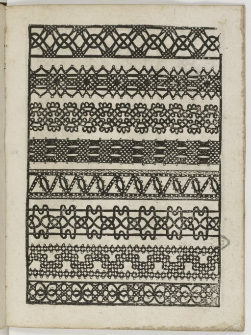 page from Le Pompe (lace designs) published 1559