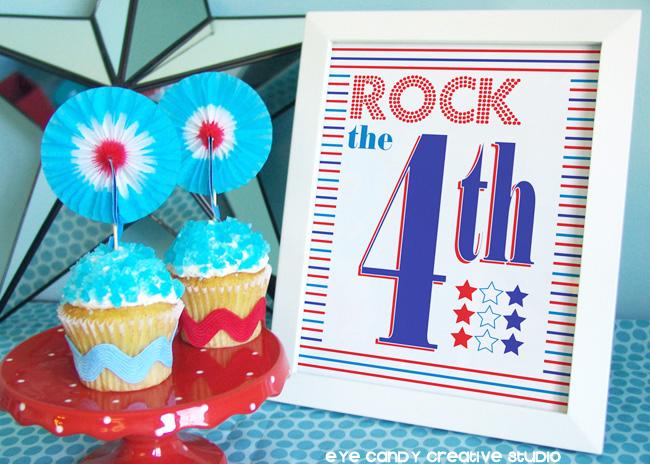 rockcandy cupcakes, rock the 4th art print, stripes, stars, free 4th art