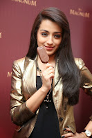 Trisha Krishnan in golden jacket at the Launch Magnum Raises The Bar