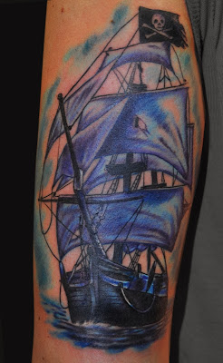 Color Ship Pirate Frag Tattoo