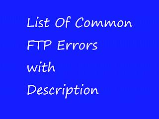 ftp Errors list