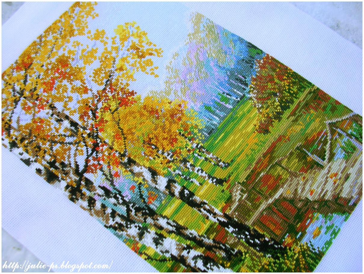 березовая роща Riolis 1134 вышивка cross stitch пейзаж осень