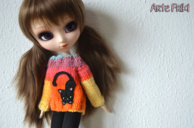 jersey pullip blythe sweater cardigan knitting barbie kawaii cute doll punto dos agujas tricot