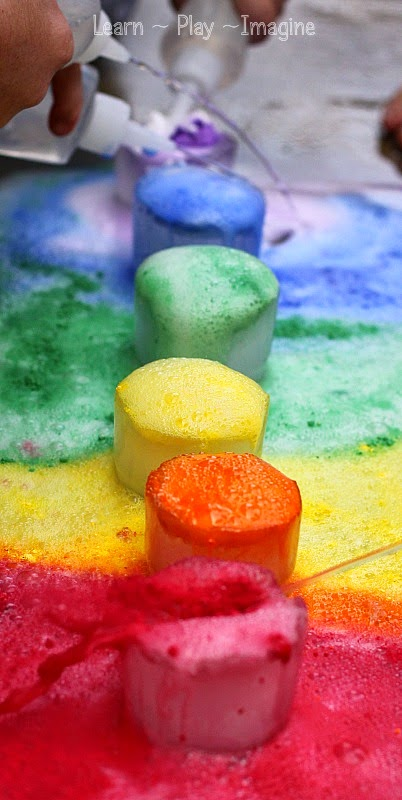 Gorgeous FROZEN rainbow eruptions - chilly science for kids