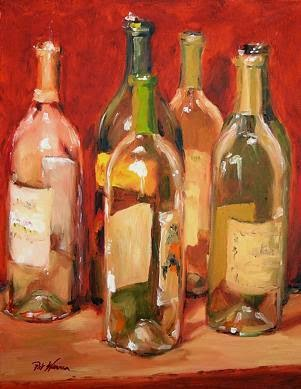 Contemporary artists of georgia still life wine bottle for What kind of paint to use for wine bottles