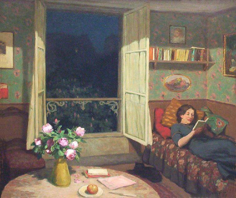 Frantisek Tavik Simon. Vilma Reading on a Sofa, 1912