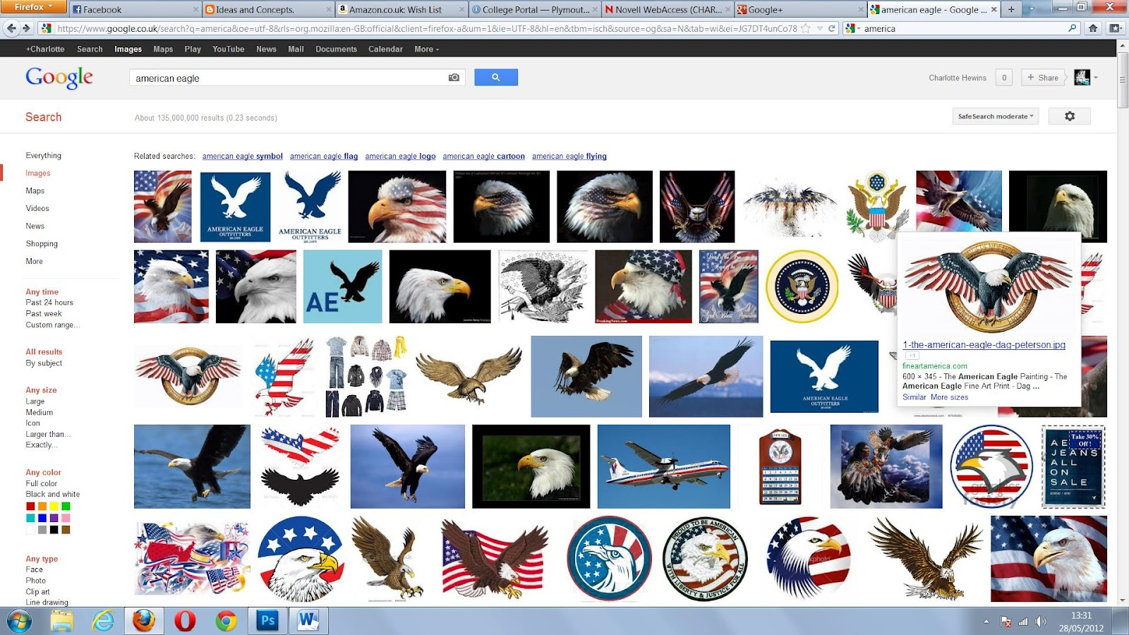 i typed in american eagle and one image of an eagle made to look like the american flag caught my eye so i made my own version of the eagle to put