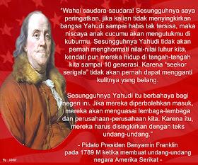 Ternyata Leluhur amerika serikat pun sadar bahaya yahudi http://www.opoae.com/2013/03/Opoae-pada-1789-m-benyamin-franklin.html